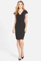 Adrianna Papell Scalloped Crepe Sheath Dress, size 8P #B1007 - $55.71