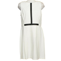 RALPH LAUREN Cream Stretch Ponte Knit Faux Leather Trim Pleated Dress 16 - $69.99