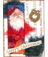 ACEO ATC Art Collage Print Christmas Santa Claus Wreath Toy Bag Noel  - $2.75