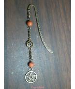 Dangling Natural Jade Beads, Celtic-Pentacle, Bronze Tone Mini Bookmark ... - $8.39