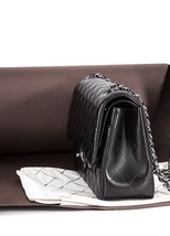 AUTHENTIC CHANEL BLACK LAMBSKIN QUILTED JUMBO DOUBLE FLAP BAG SILVER HARDWARE image 4