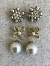 Lot 3 Vintage Earrings Clip On Tara Unmarked Faux Pearl Rhinestone - $32.66