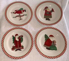 """4 Vintage Sakura Debbie Mumm Magic of Santa 8"""" Salad Dessert Plates Chri... - $22.99"""