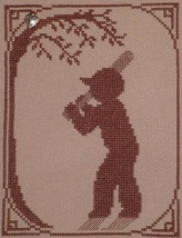 Baseball Player with charm cross stitch chart Handblessings - $5.00