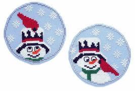 Snowman Buddies Cardinal circle ornaments cross stitch chart Handblessings - $5.00