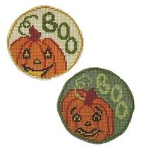 Pumpkins The Boo Team circle ornaments cross stitch chart Handblessings - $5.00