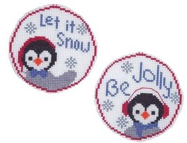 Pair Of Penguins circle ornaments cross stitch chart Handblessings - $5.00