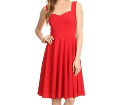 Red Fit and Flare Dress, Red Swing Dress, Red Flare Dress, XL