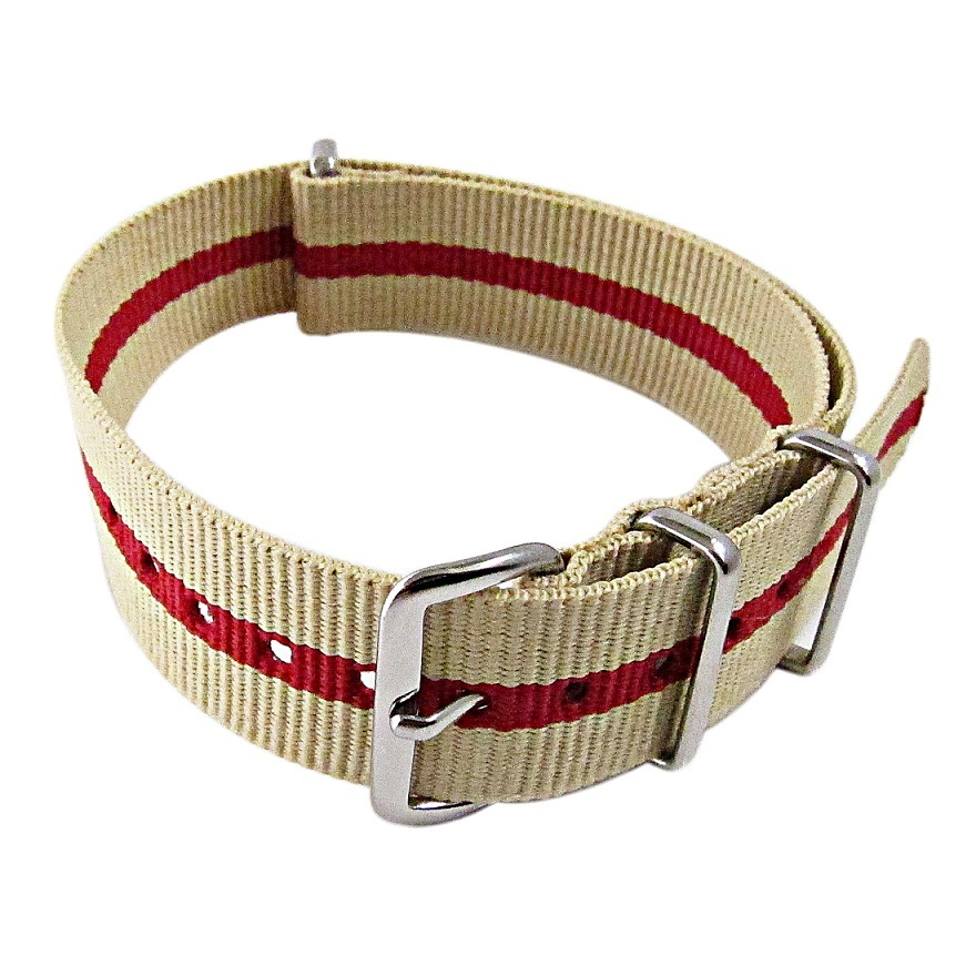 Primary image for Nylon Watch band (18mm) in Sand with Red Strip