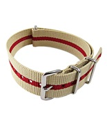 Nylon Watch band (18mm) in Sand with Red Strip - $13.00