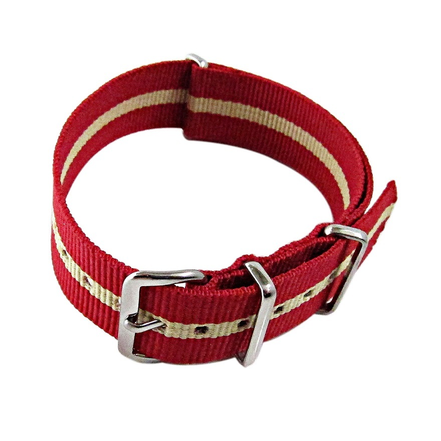 Primary image for Nylon Watch band (18mm) in Red with Sand Strip