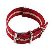 Nylon Watch band (18mm) in Red with Sand Strip - $13.00
