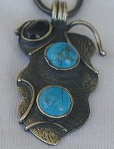 Silver turquoise onyx pendant - $40.00