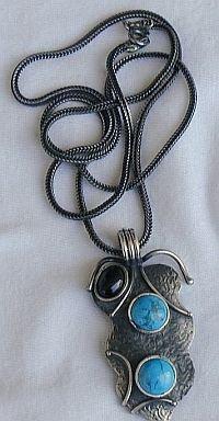 Silver turquoise onyx pendant