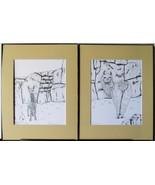 Inquisitive Llama, Framed Wildlife Art Print, Pen and Ink, Home Decor, m... - $39.00