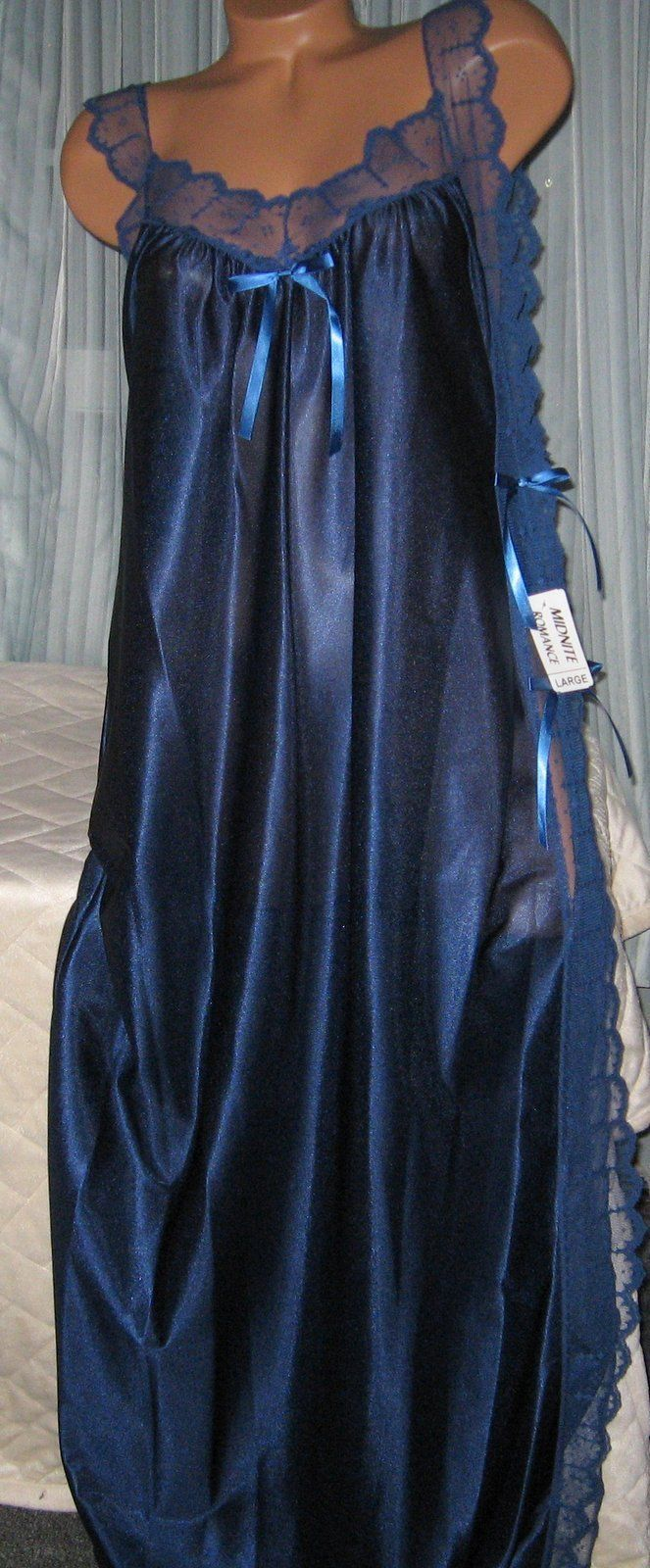 Navy Blue Toga Style Tie Side Long Nightgown 1X Plus Size Womans Lingerie