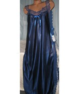 Navy Blue Toga Style Tie Side Long Nightgown 1X Plus Size Womans Lingerie - $22.75