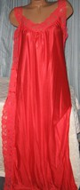 Red Nylon Lace Side Toga Style Long Nightgown M Lingerie Sleepwear - $22.00