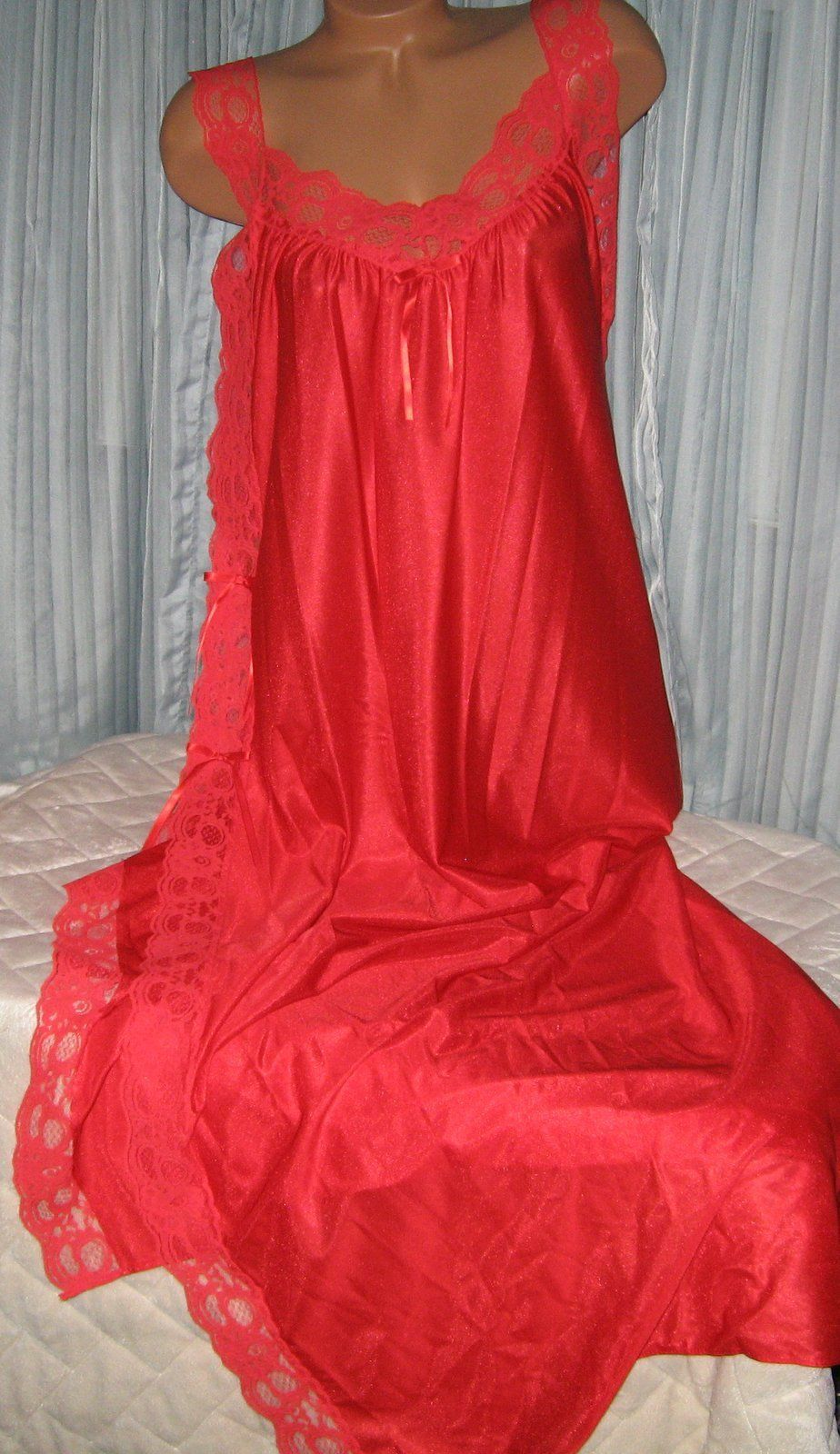 Red Nylon Lace Side Toga Style Long Nightgown M Lingerie Sleepwear