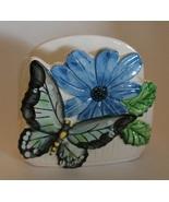 Retro Vintage Ceramic  Butterfly Flower Napkin Letter Holder Organizer - $10.00