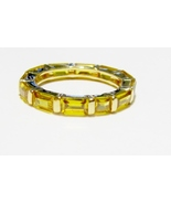 Yellow Topaz Baguette Eternity Ring, 18K Yellow Gold / Silver, Size 7, 1... - $22.50