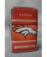 DENVER BRONCOS CLASSIC LOGO REFILLABLE SILVER NFL OIL LIGHTER - $10.84