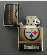 PITTSBURGH STEELERS CLASSIC LOGO REFILLABLE SILVER OIL LIGHTER - $10.84
