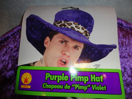 PURPLE PIMP HAT VELVETY, FUZZY WITH WIRE TO ADJUST ADULT SIZE - $8.77