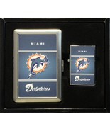 MIAMI DOLPHINS LOGO CIGARETTE CASE / WALLET AND LIGHTER GIFT SET - $16.78