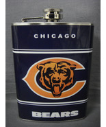 CHICAGO BEARS CLASSIC LOGO BLUE STAINLESS STEEL 8oz FLASK NFL - $12.82