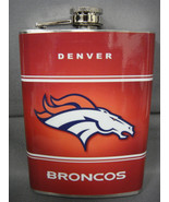 DENVER BRONCOS CLASSIC LOGO ORANGE STAINLESS STEEL 8oz FLASK NFL - $10.26