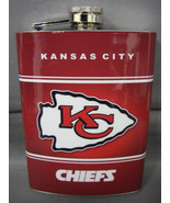 KANSAS CITY CHIEFS CLASSIC LOGO RED STAINLESS STEEL 8oz FLASK NFL - $12.82