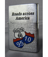 ROADS ACROSS AMERICA  DESIGN SILVER REFILLABLE OIL CIGARETTE LIGHTER - $4.85