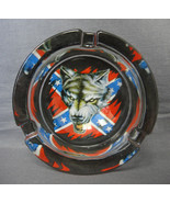 "WOLF GUARDING CONFEDERATE FLAG DESIGN 3"" GLASS ASHTRAY - $4.66"