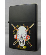 POOL HALL JUNKIE SKULL DESIGN BLACK REFILLABLE OIL CIGARETTE LIGHTER - $4.85
