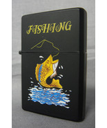 FISHING FOR A BASS DESIGN BLACK REFILLABLE OIL CIGARETTE LIGHTER - $4.85