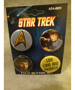 STAR TREK BUTTON PACK / SET OF 4 LIVE LONG AND PROSPER SET - $4.66