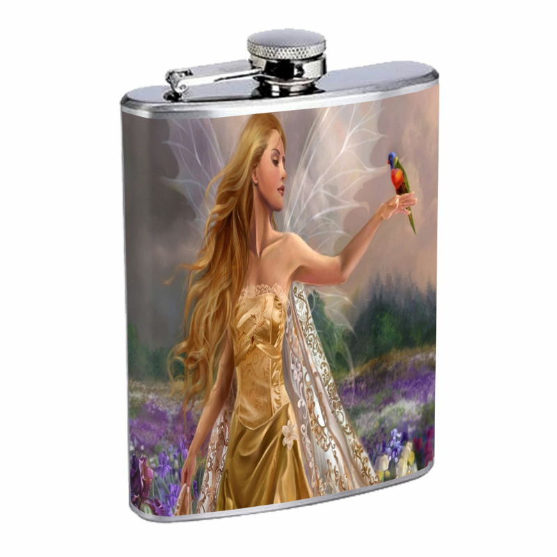 Flask 8oz Stainless Steel Fairies Design-004 Custom Fey Nymphs Pixie Puck Forest