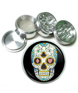 """63mm 2.5"""" 4 Pc Aluminum Sifter Magnetic Herb Grinder Skull Design-016 - $9.75"""