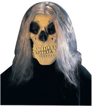 SKULL HALLOWEEN MASK 3/4 ADULT MASK WITH HAIR NEW - $9.75