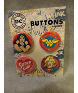 DC COMICS WONDER WOMEN AND SUPER GIRL BUTTON PACK / SET OF 4 - $4.66