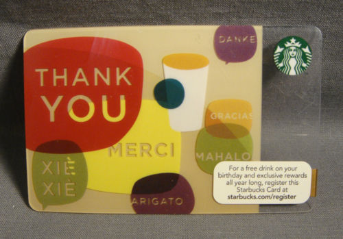STARBUCKS CARD 2010 WAYS OF SAYING THANK YOU GIFT CARD NO BALANCE / RELOADABLE