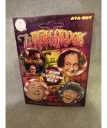 THE THREE STOOGES BUTTON PACK / SET OF 4 AMERICAN FLAG - $4.66