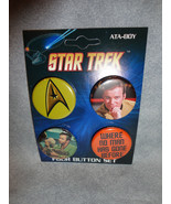 STAR TREK BUTTON PACK / SET OF 4 WHERE NO MAN HAS GONE BEFORE SET - $4.66