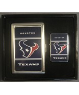HOUSTON TEXANS CLASSIC LOGO CIGARETTE CASE / WALLET AND LIGHTER GIFT SET - $15.79