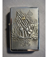 SILVER COLORED RAISED SKELETON HANDS with BLING RING LOGO TORCH LIGHTER NEW - $3.10