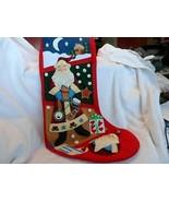 "Large 22"" red  Christmas stocking w/ 3D old world Santa design - $16.50"