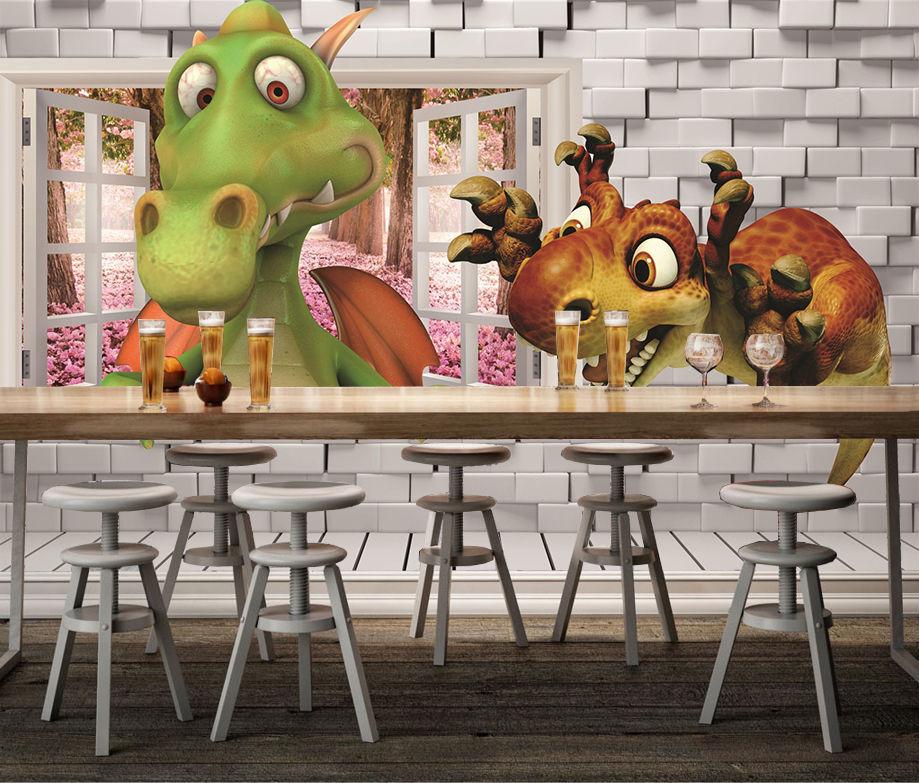 3d cartoon dinosaurier 387 fototapeten wandbild bild - Wandbild familie ...