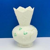 Belleek Vase Ireland shamrock decor fluted top porcelain St Patricks day gift UK - $29.65