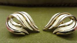 Vintage Crown Trifari Earrings Clip On Flame Shape Gold Tone - $18.00